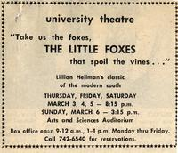 March 3-6: The Little Foxes [Notice 002]