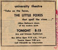 March 3-6: The Little Foxes [Notice 004]