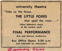 March 3-6: The Little Foxes [Notice 006]