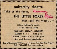 March 3-6: The Little Foxes [Notice 003]