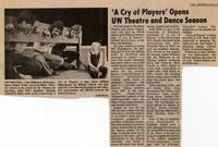 October 6-10: A Cry of Players [Newspaper Clipping 002]