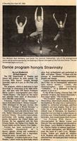 April 28-30, May 1: An Evening With Stravinsky [Newspaper Clipping 002]