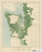 Map of western Washington, showing density of merchantable timber