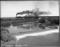 "The Overland Limited"" Crossing Hams Fork Bridge, Granger, Wyoming on Union Pacific"