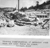 Project 117, Showing Construction Of Exterior Rock Work And Arch Forms In Place