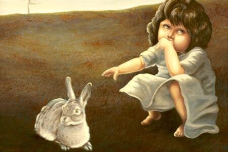 Painting of child pointing to a rabbit
