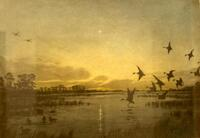 Painting of flying ducks over a pond