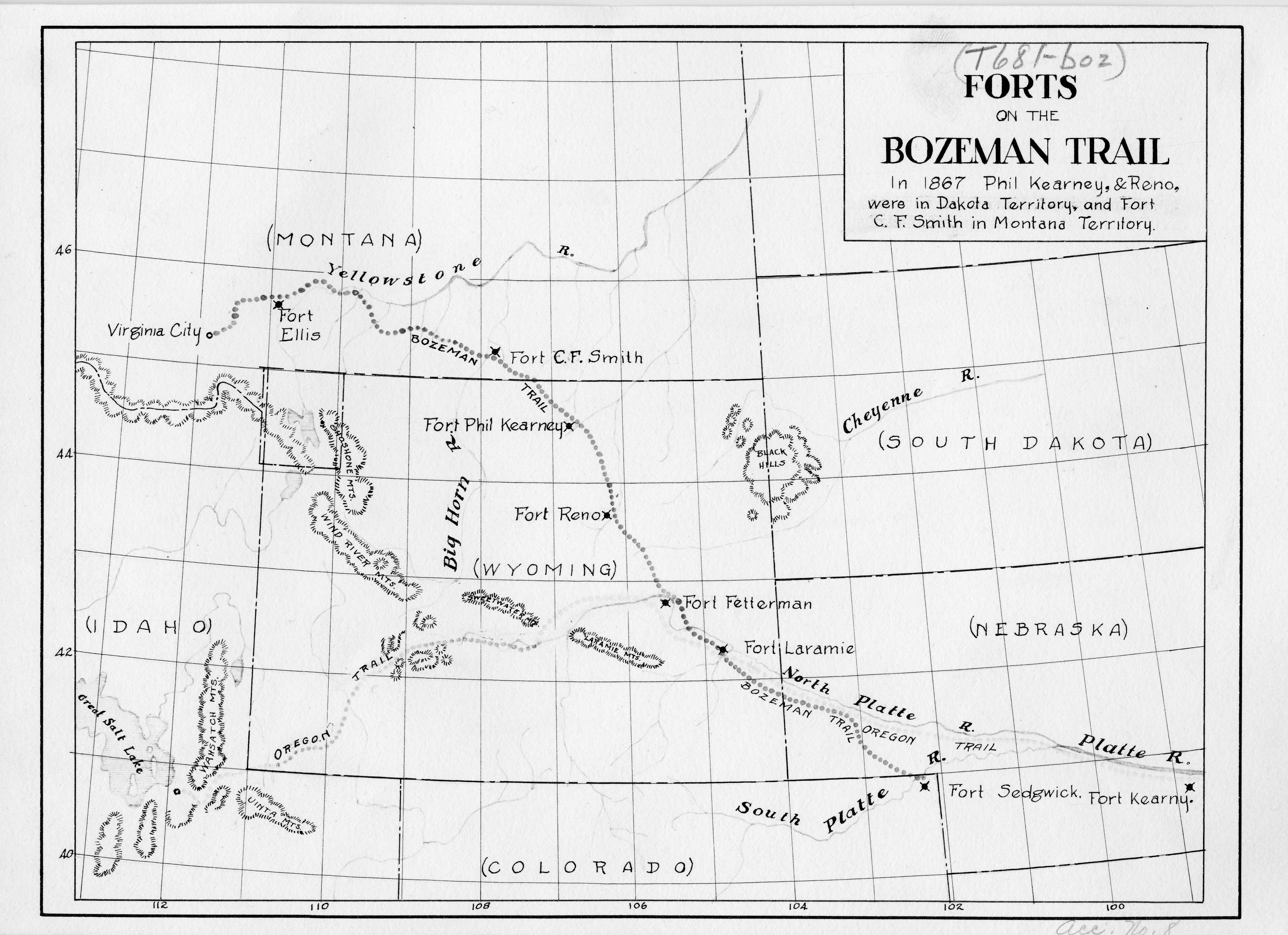 Forts On The Bozeman Trail In 1867 Phil Kearney Reno Were In